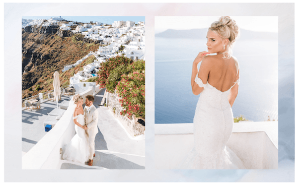 Heavens to Betsy Bridal, Dreamy in Santorini