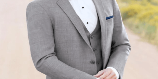 Heavens to Betsy Grooms and Groomsmen grey suit