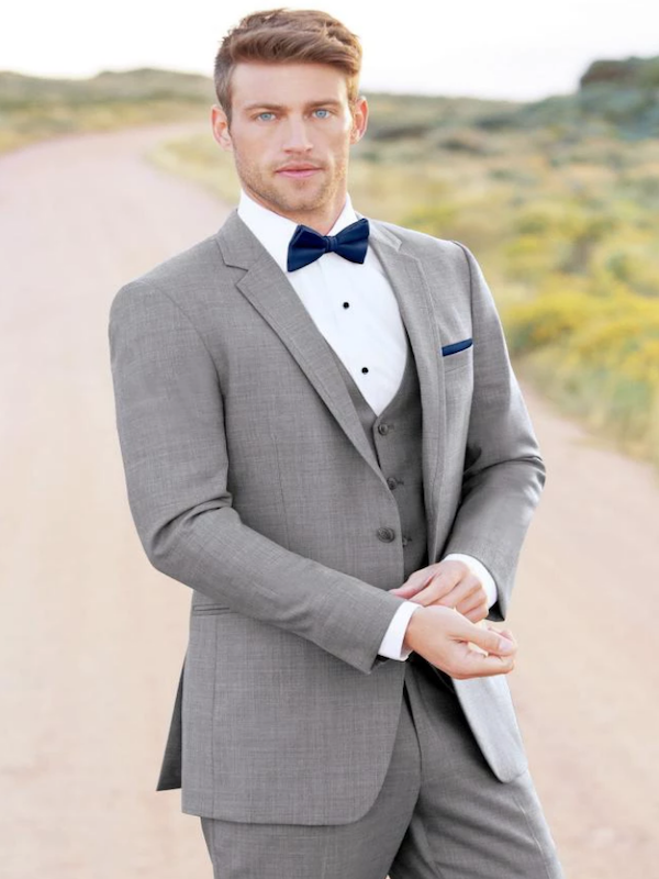 Heavens to Betsy Grooms and Groomsmen grey suit
